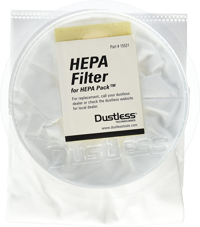 Dustless Technologies 15521 HEPA Filter for Dustless Backpack, Small, White (Pack of 3)