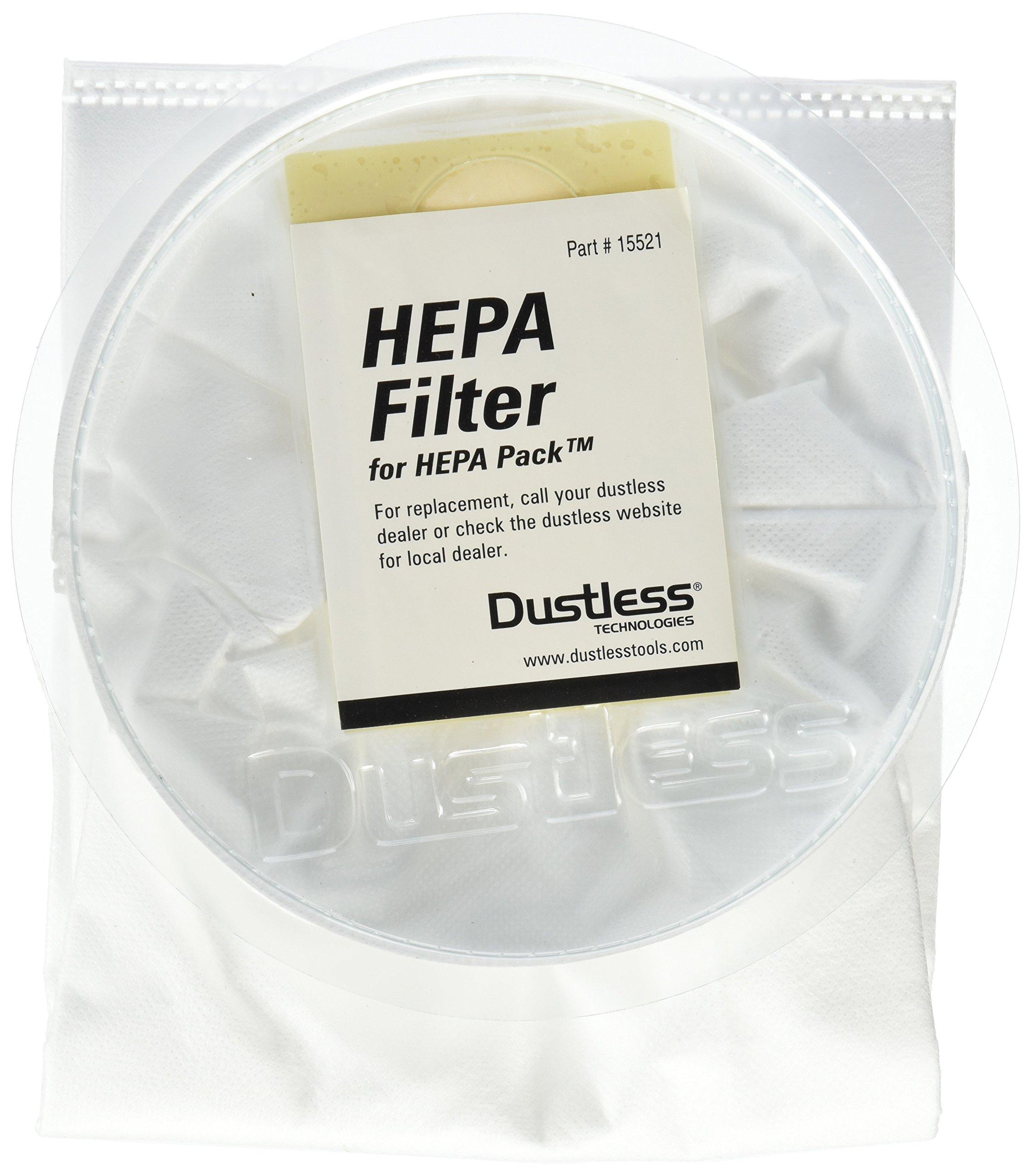 Dustless Technologies 15521 HEPA Filter for Dustless Backpack (Pack of 3), Small, White