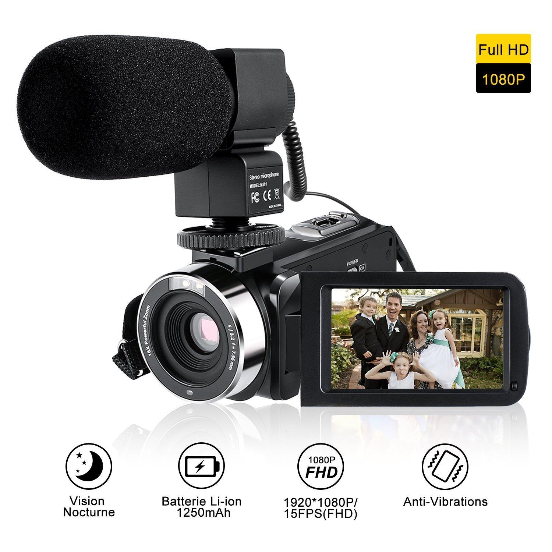 Camcorder Full HD Mit Externem Mikrofon,LESHP: Amazon.de: Elektronik