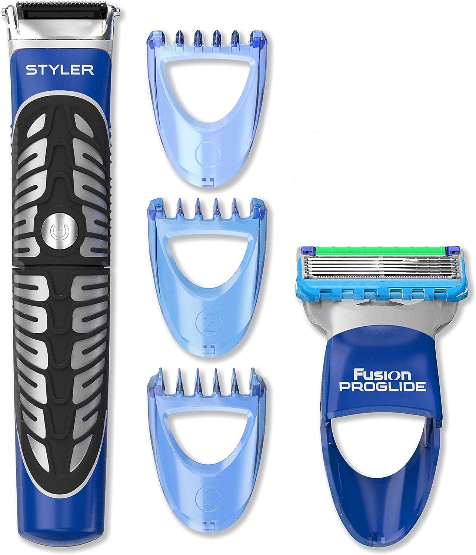 Gillette Styler Multiusos Maquinilla de Afeitar, Perfiladora + 3 Cabezales
