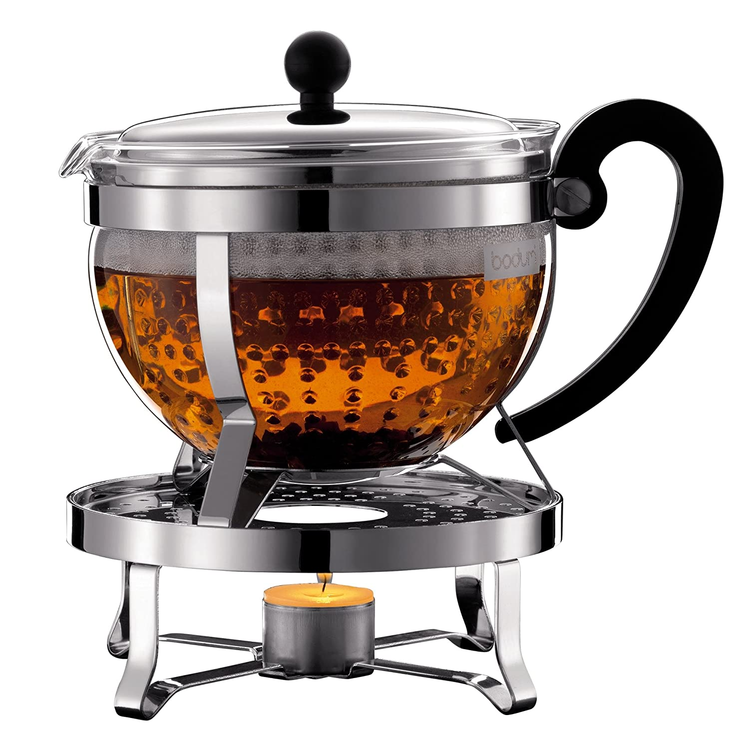 Bodum K11143-16 Chambord Set, tea maker with plastic filter 1.3L, with Rechaud Shiny - silver/black K11143-16_Glänzend