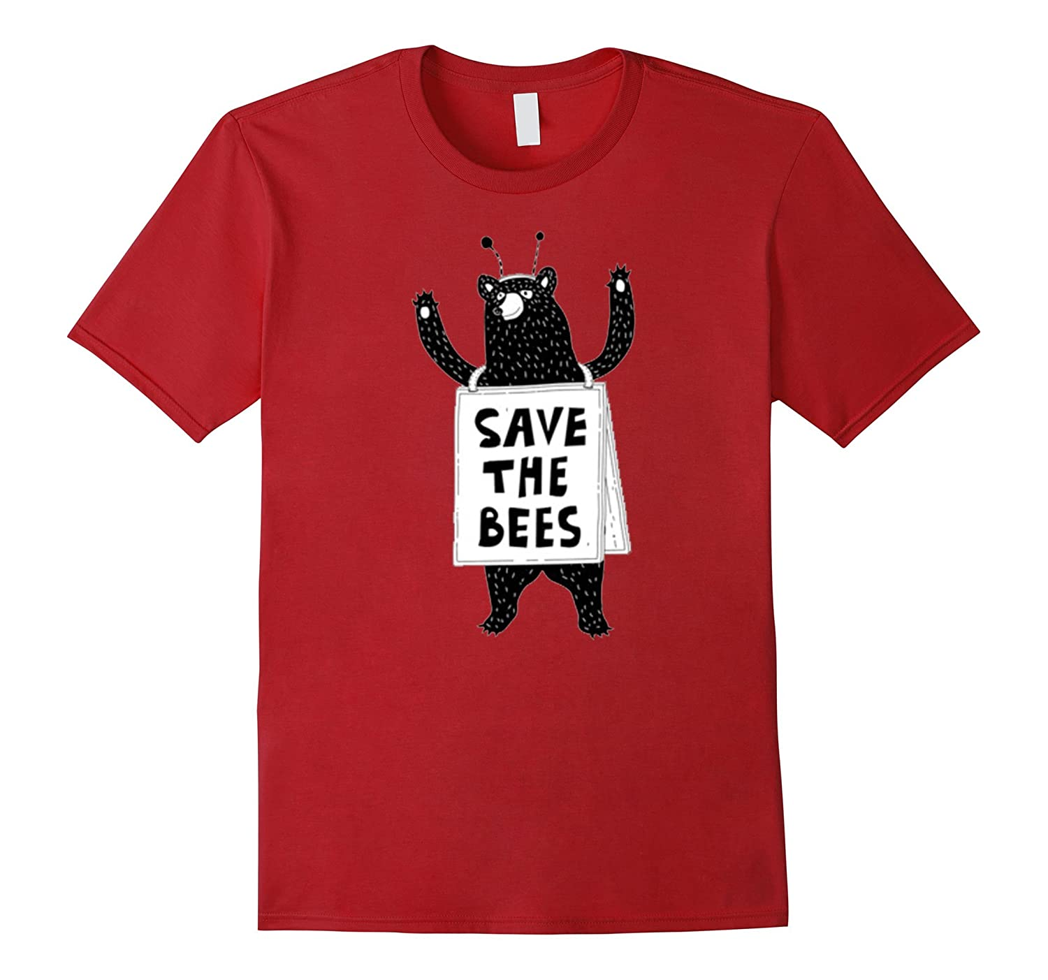 Save The Bees Honeybees Grizzly Bear Cartoon T Shirt T