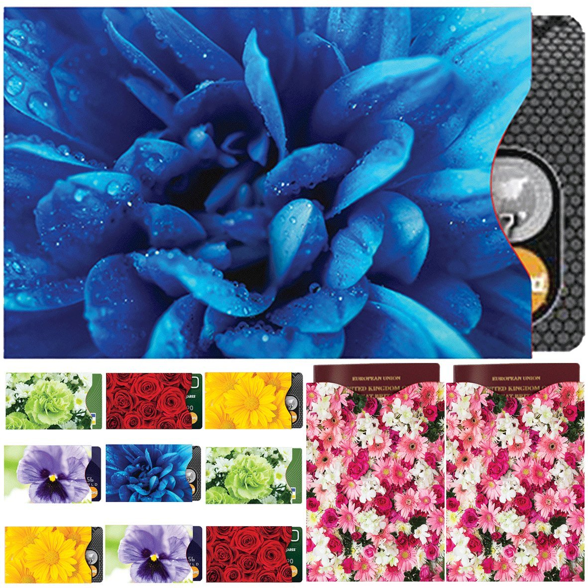 [12-Packung] RFID Blocking Hüllen - Designer Set, für Kreditkarte & ID Schützhüllen, ideal für im Portemonnaie / Passschutzhülle – Voller Schutz RFID & NFC – Wunderschöne Blumen