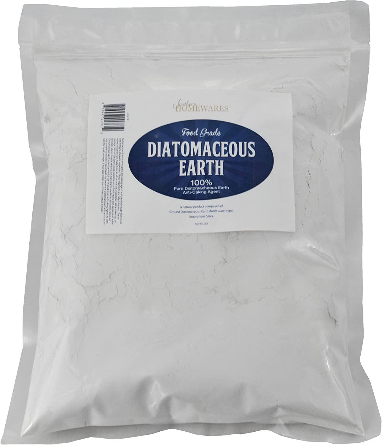 Southern Homewares Diatomaceous Earth Food Grade (Fresh Water Type) 2lb Zipper Bag Codex DE (0.2)