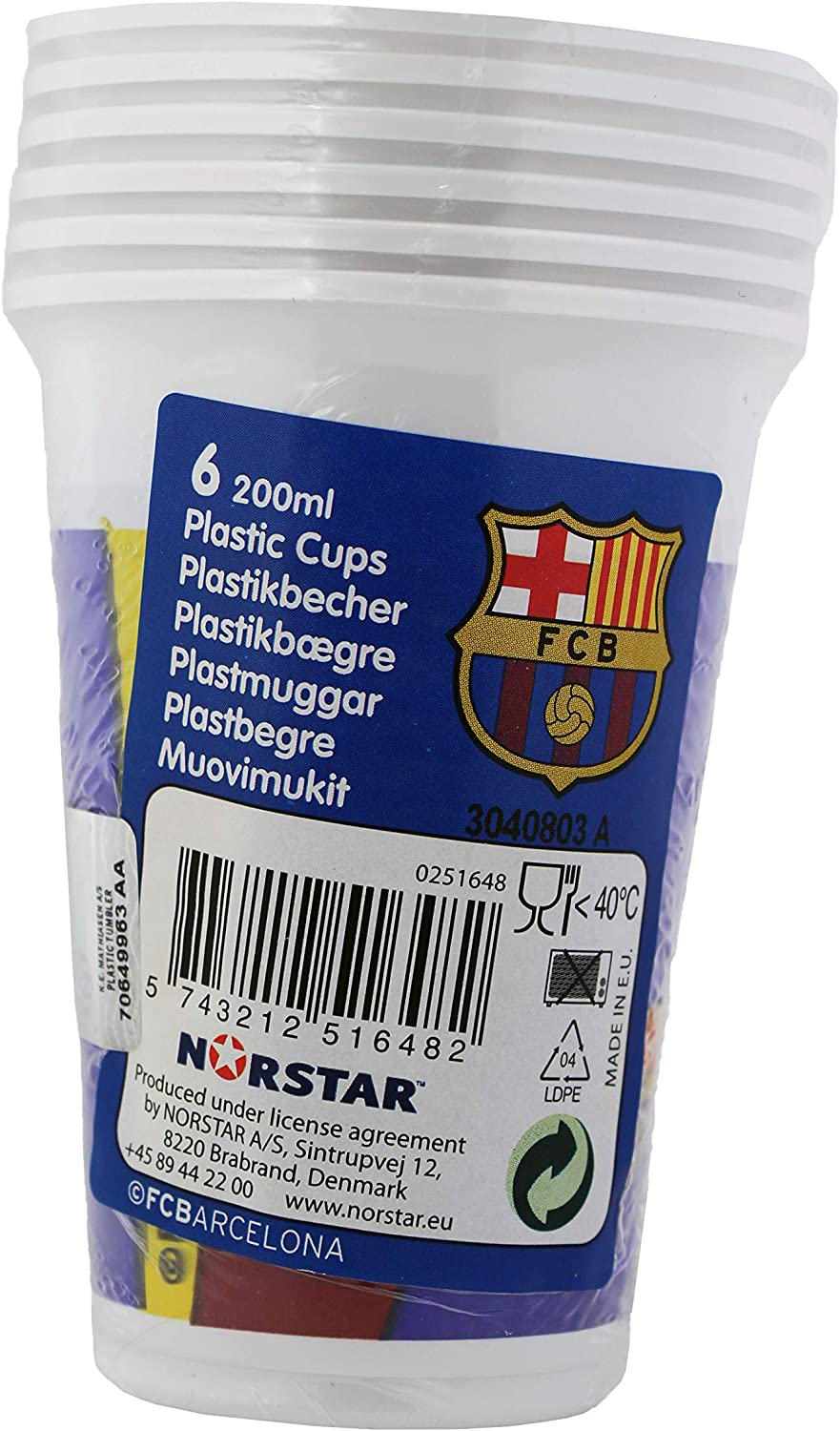 Official Barcelona Football Club FC Barcelona 200ml Plastic Party Cups 6 Pack