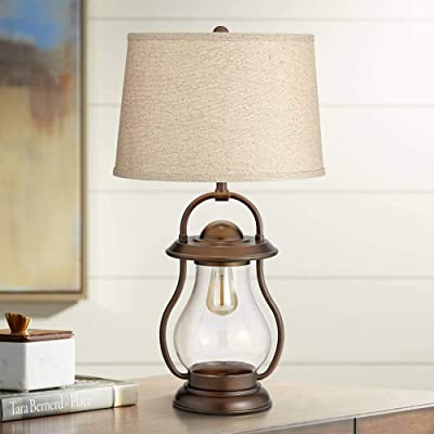 Buy Fredrik Rustic Industrial Farmhouse Table Lamp With Nightlight Antique Edison Style Led Bronze Lantern Burlap Tapered Drum Shade For Living Room Bedroom House Bedside Nightstand Franklin Iron Works Online In