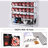 19 GPU Mining Case Rig With 18 Red Fans Aluminum Stackable Frame Cryptocurrency Open Air Miner Case For Ethereum(ETH)/ETC/ ZCash Bitcoin,and Altcoins(Silver Frame, Red Fan)