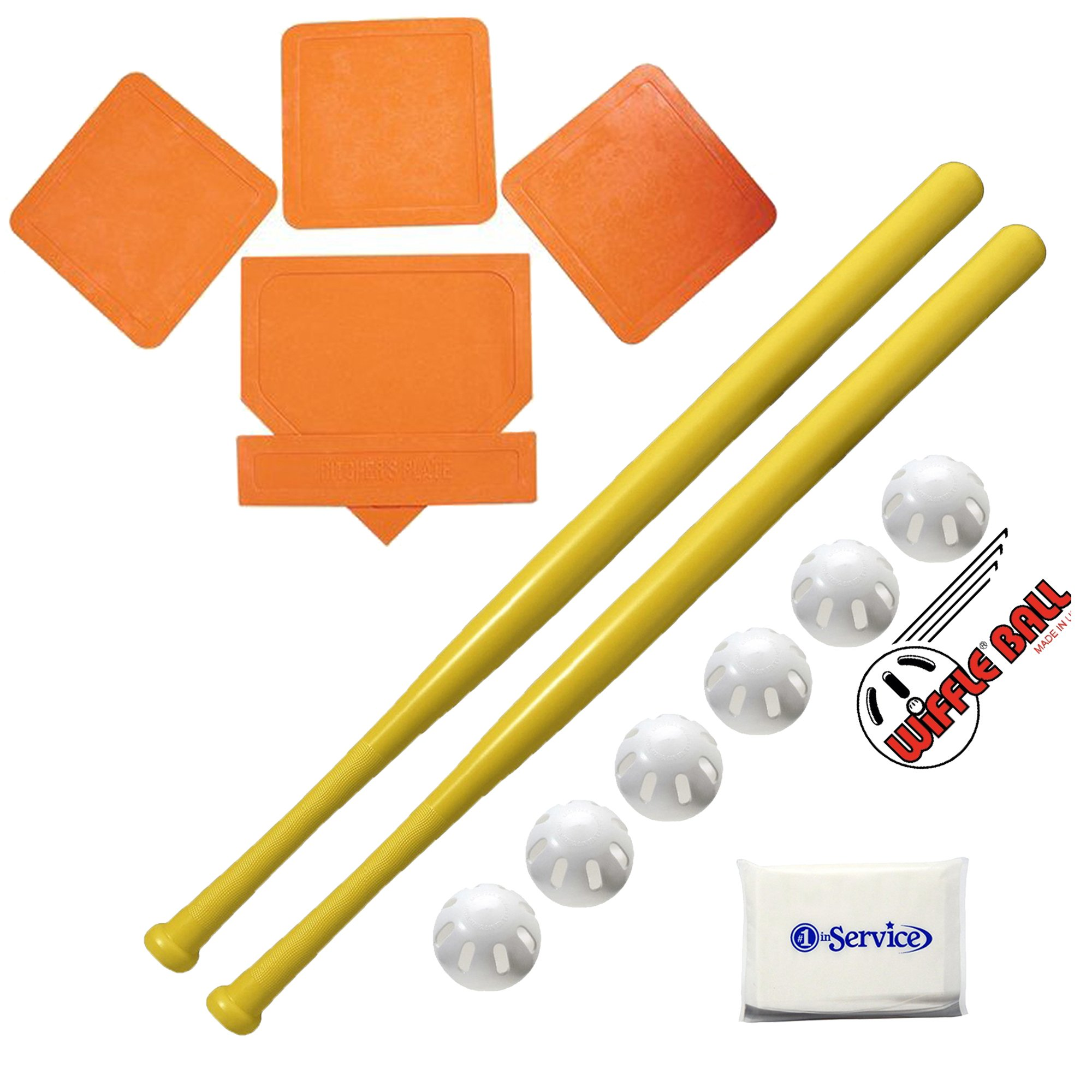 Wiffle Ball 6 Baseballs Official Size - 6 Pack and Wiffle Ball 32'' Bats 2 Pack, BSN Orange Throw Down Bases (5 Piece), Gift Set Bundle + Bonus NOIS Tissue Pack