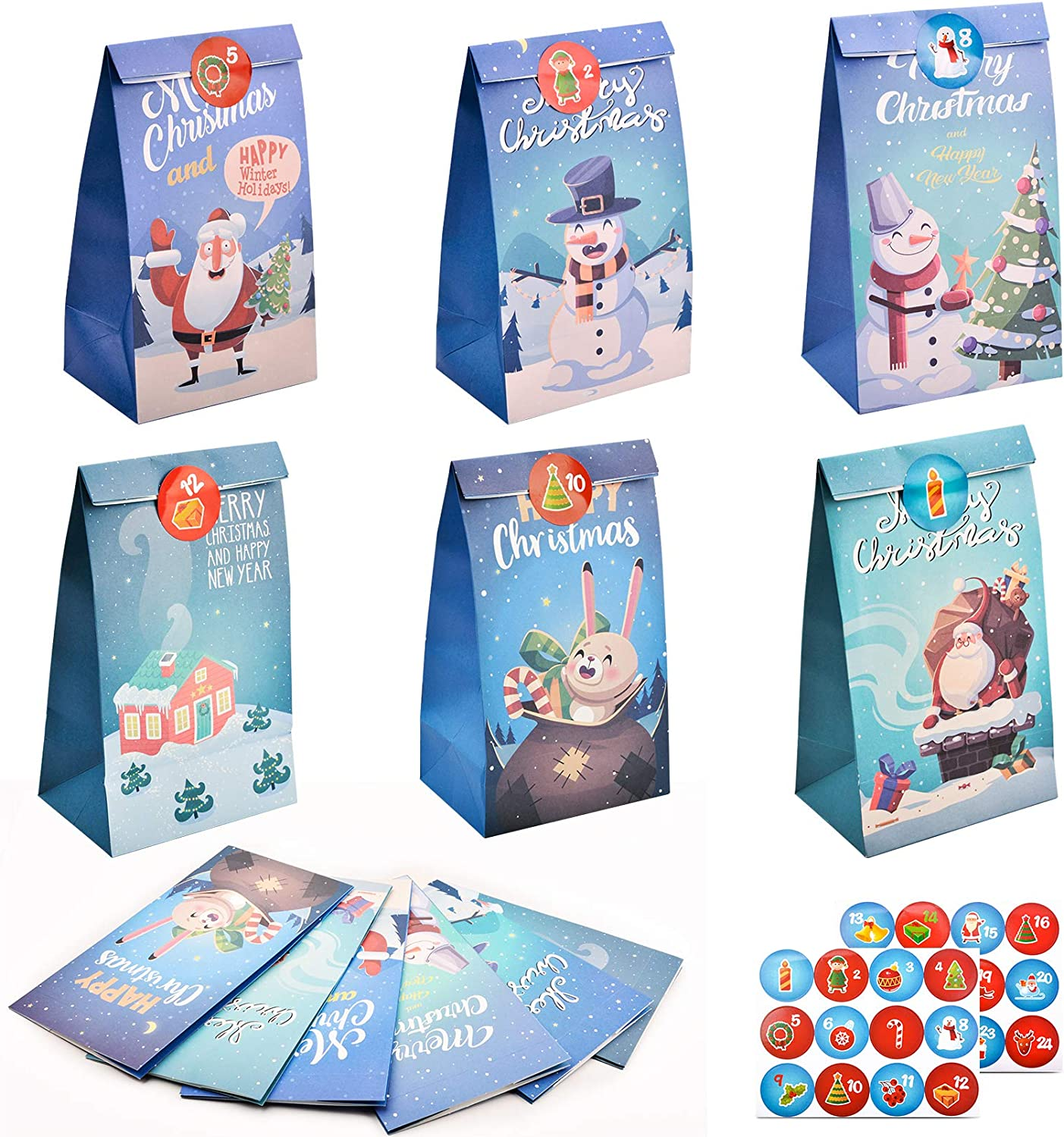 12 Pack Christmas Candy Paper Gift Bags Christmas Goodies Boxes Assortment Party Treat Bags with 2 Pcs Santa Claus Stickers for Parties Supplies