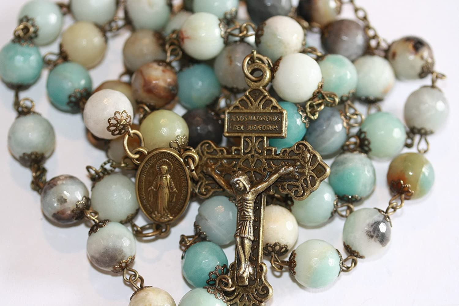 Large Amazonite and Bronze 10mm 5 Decade Natural Stone Bead Rosary Made in Oklahoma with Pardon Crucifix Oklahoma Rosaries