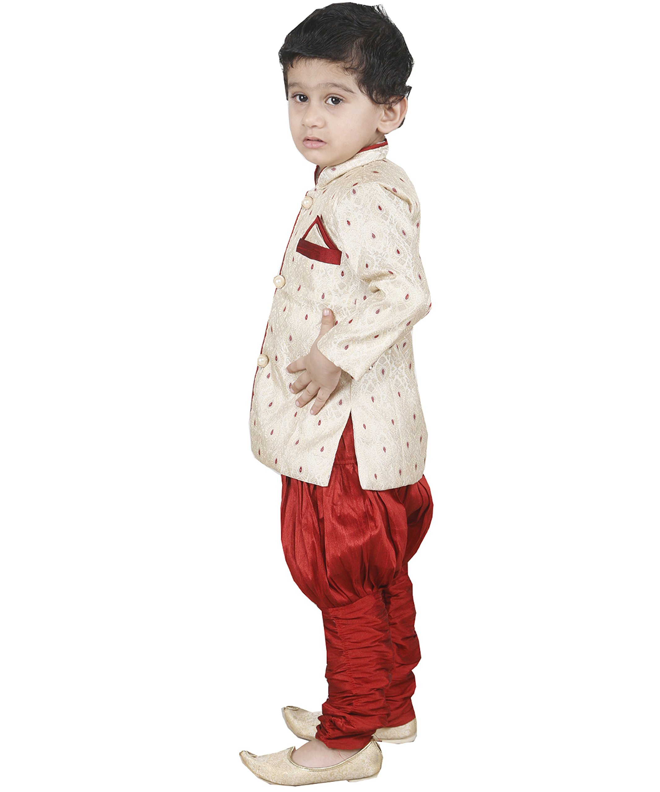 JBN Creation Boys Beige Banarasi Cotton Silk Kurta Pyjama With Jodhpuri Breeches (Size: 6-12 Months) by jbn creation (Image #2)
