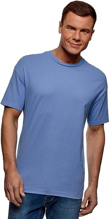 oodji Ultra Hombre Hombre Camiseta con Mangas Largas de Algod/ón