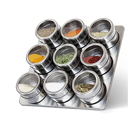 CONNECTWIDE® Magnetic Spice Jars Airtight Kitchen Storage Containers U2013  Stack On Fridge To Save Counter