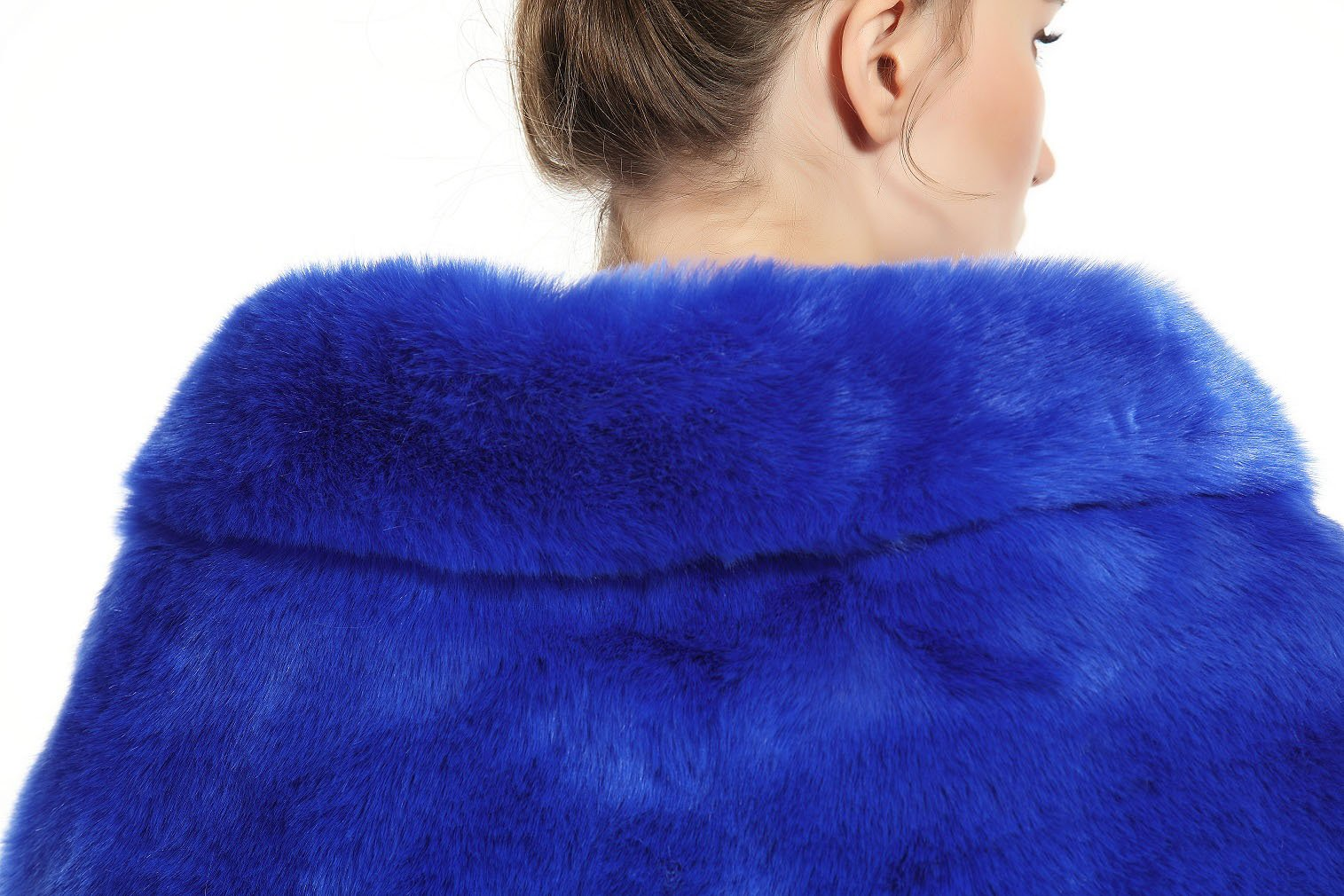 Faux Fur Shawl Wrap Stole Shrug Winter Bridal Wedding Cover Up Royal Blue Size M by MISSYDRESS (Image #5)
