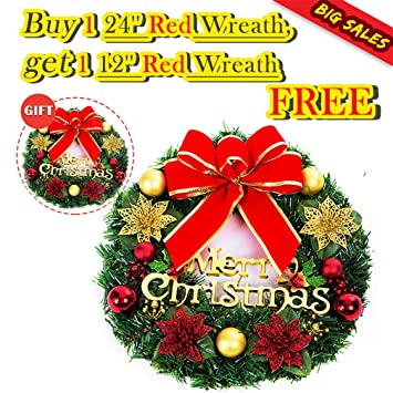 large christmas wreath christmas decorations ornament artificial christmas wreath garland with bow knot bell ball red - Large Christmas Wreath