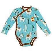 Earthy Organic Baby Long Sleeve Kimono Bodysuit Boy Girl (8 Sizes: Preemie-24M) 100% Organic Cotton (3 Months, Peru)