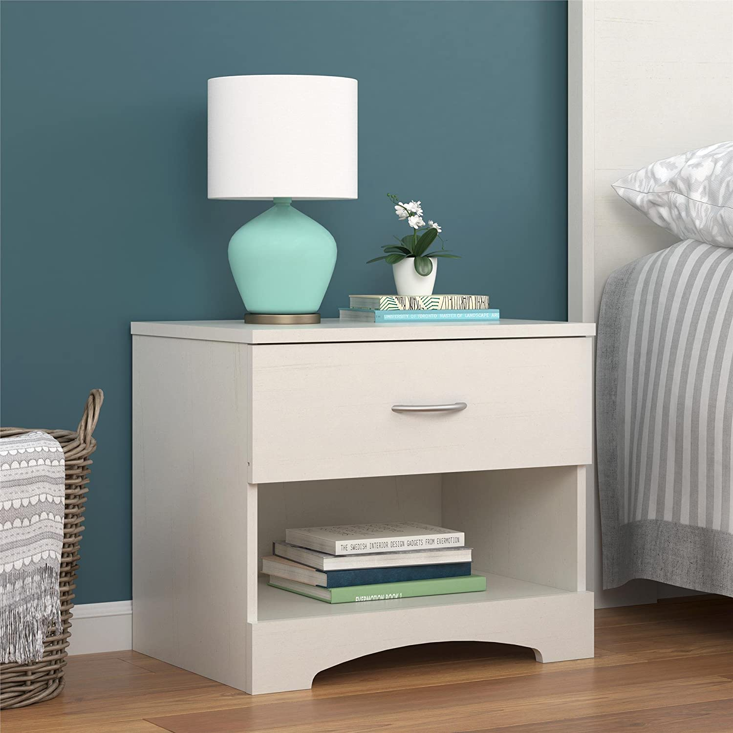 Ameriwood Home Crescent Point Nightstand, Vintage White