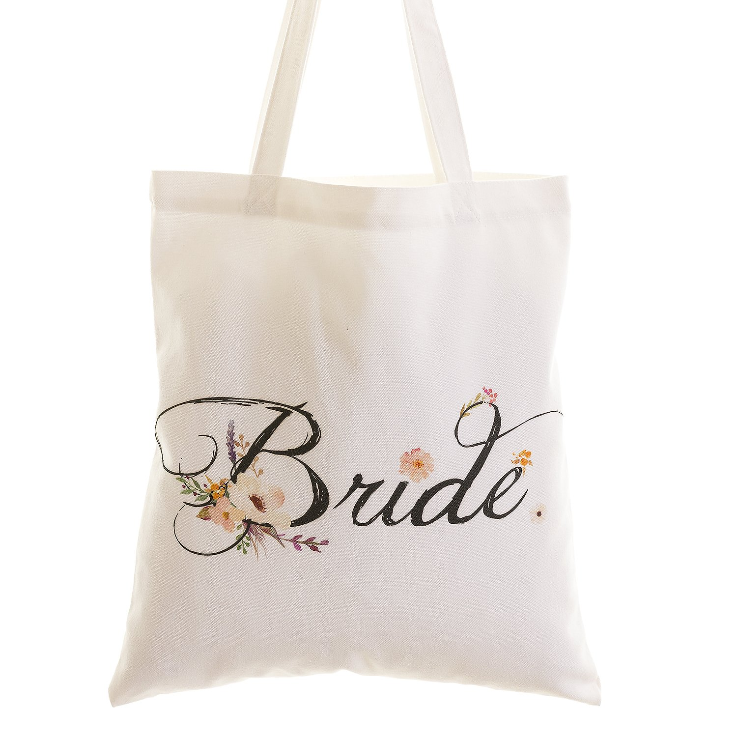 Ling's moment Wedding Bride Floral Cotton Canvas Tote Bag with Interior Pocket for Bride to Be, Bridal Shower Gifts