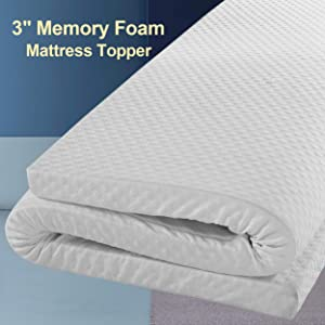 Edilly 3 Inch Memory Foam Mattress Topper California King Size,Aviation Grade Material,Removable Hypoallergenic Soft Cover, Comfort Body Support&Pressure Relief,10 Year Warranty