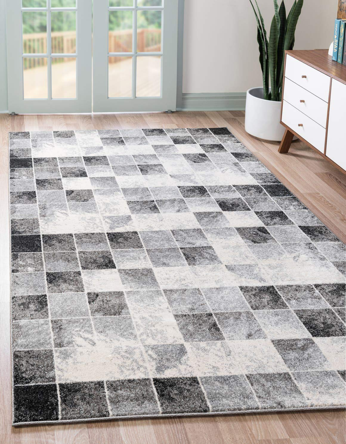 Unique Loom Wildlife Collection Checkered Geometric Warm Colors Light Gray Area Rug 5 0 x 8 0