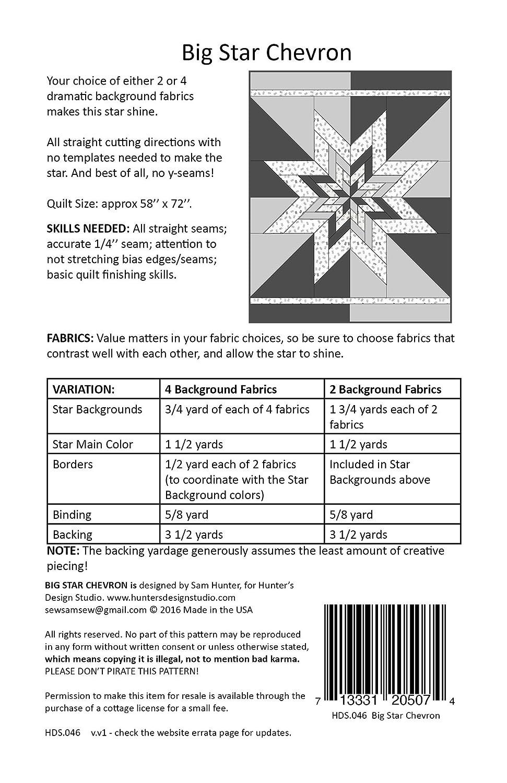 Amazon Hunters Design Studio Big Star Chevron Quilt Pattern