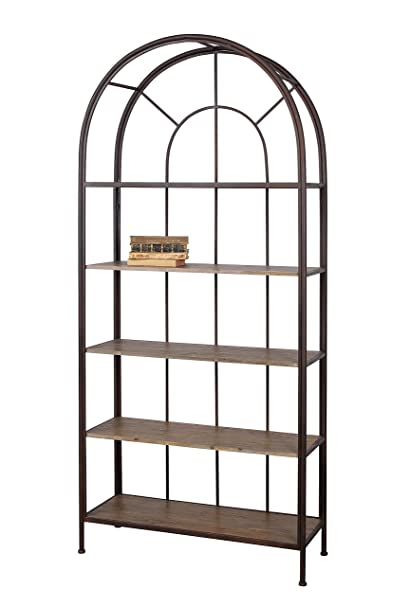 Creative Co Op DE2765 Metal Frame Arched Bookshelf With Wood Shelves
