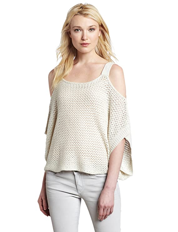 Willow Clay Womens Cold Shoulder Sweater Ecru X Small At Amazon