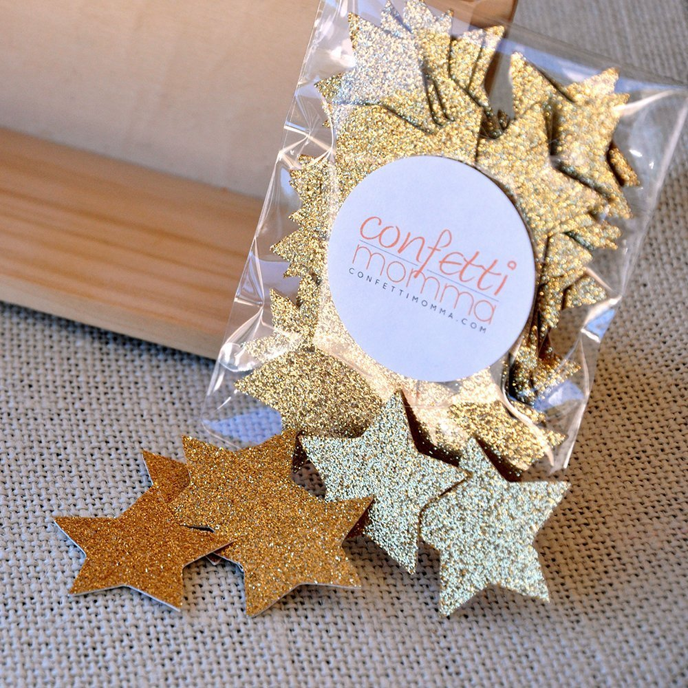 Glitter Gold Star Confetti. Birthday Party Decorations. Premium No Shed Glitter Paper Stars. 2 Packs (50ct each)