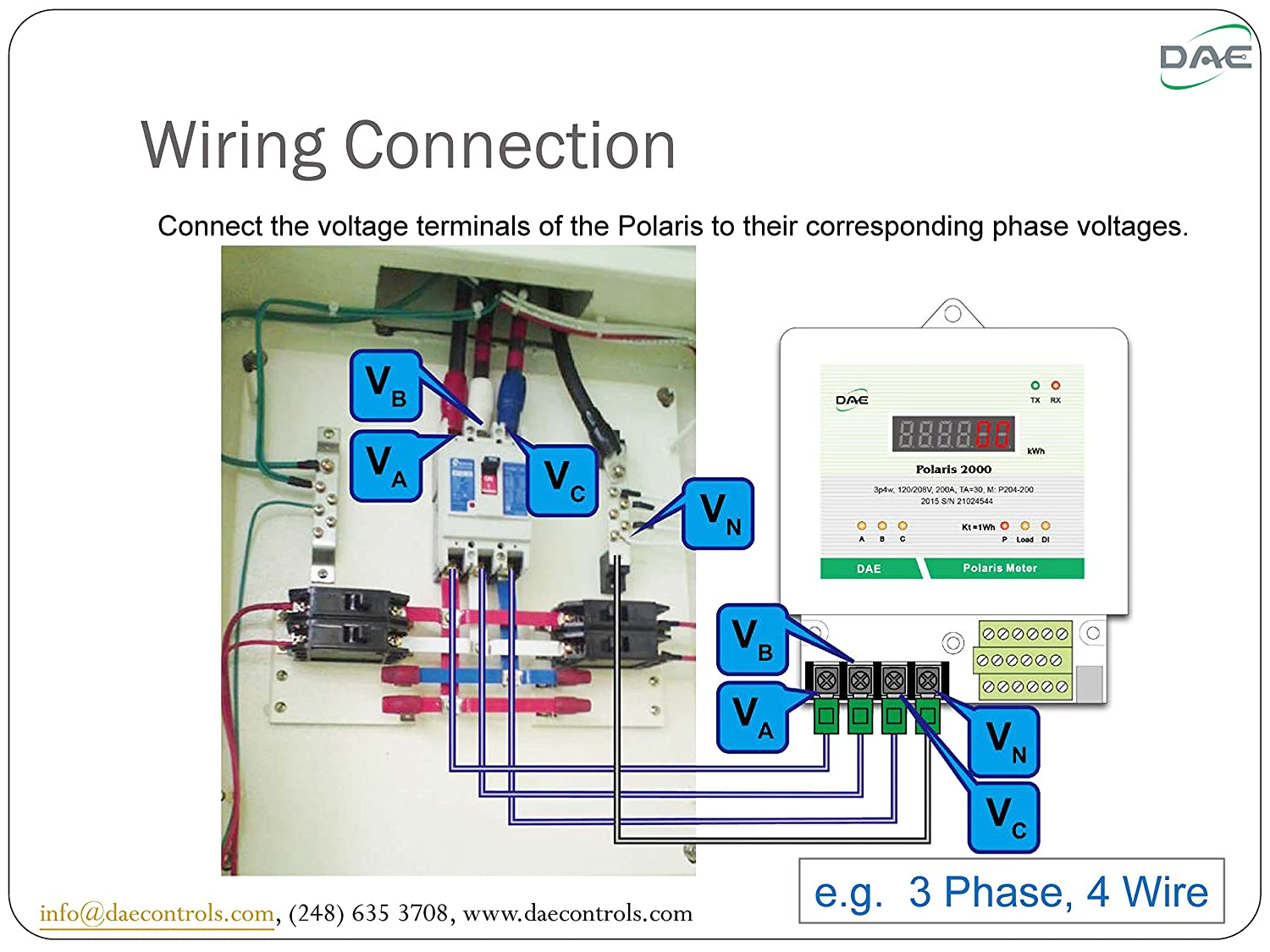 Dae P204 100 Kit Ul Kwh Smart Submeter 3 Phase 4 Wire 100a 120 Wiring 208v Split Core Cts