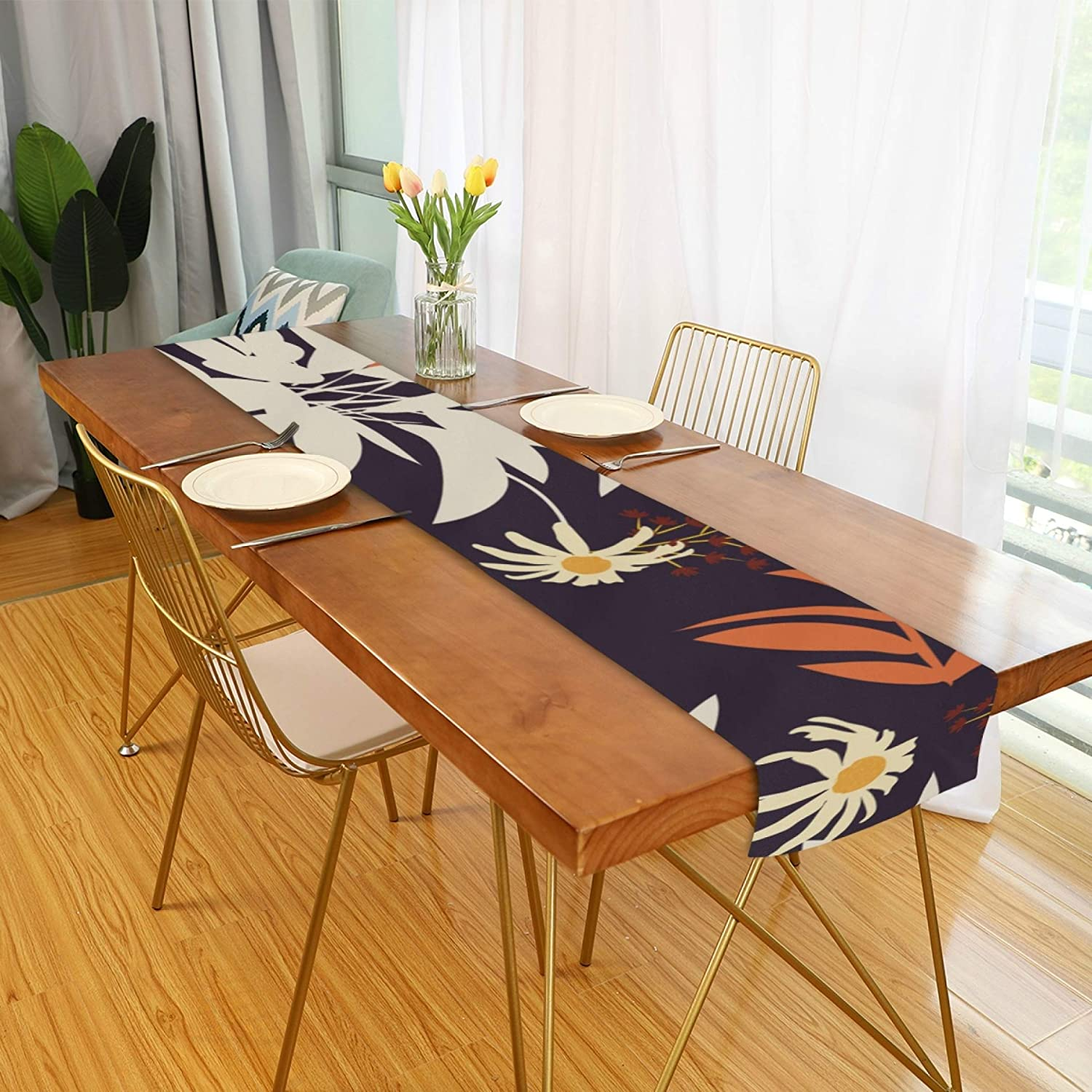 Amazon Com Farmhouse Table Runner For Home Kitchen Dining Table Coffee Table Decor Farmhouse Table Runners Pattern Leaves Flower Colorful Tropical Table Linens For Indoor Outdoor Everyday Uses 13x90in Home Kitchen