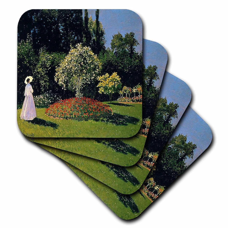 Set of 8 3dRose cst/_49341/_2 Monet Woman in Garden Soft Coasters