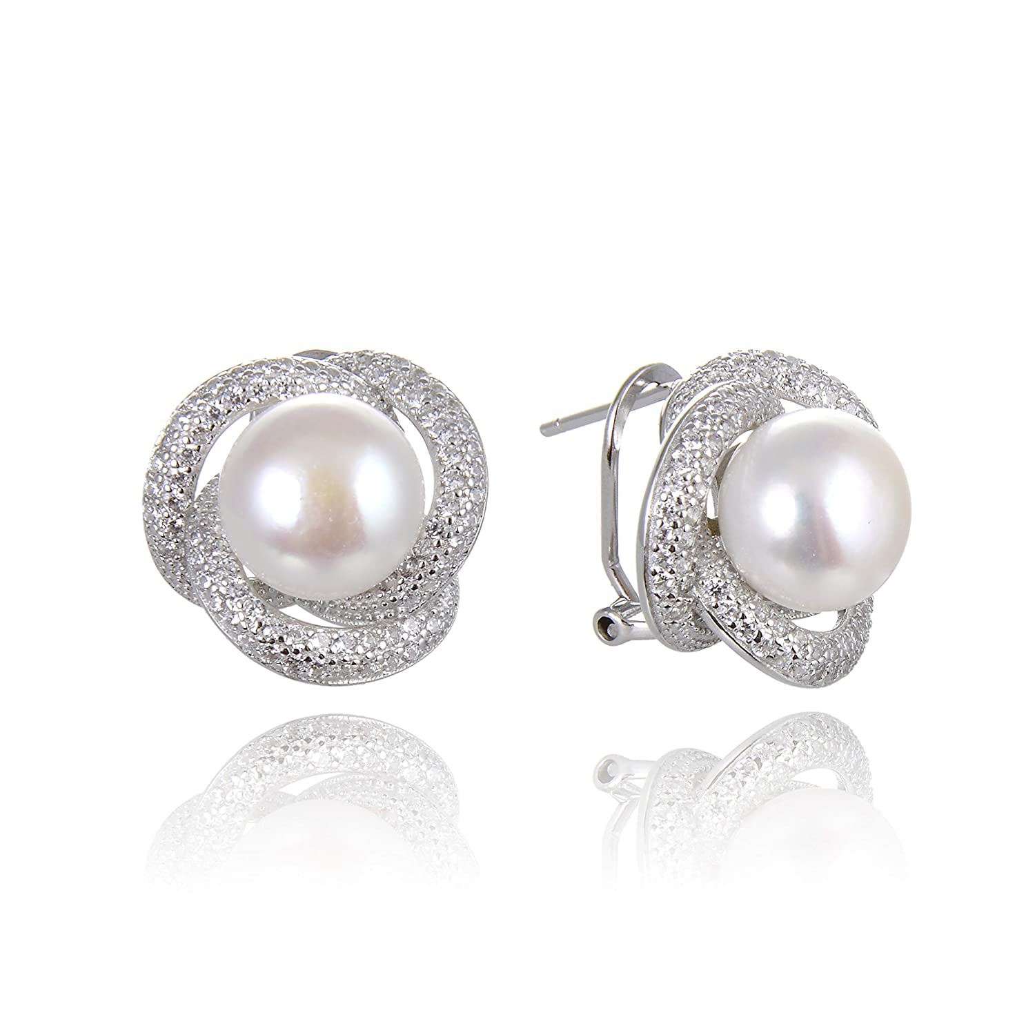c93ce4c73 Ameriwal Natural White Color Fresh Water Pearl Stud Earring Necklace Set  with CZ and 925 Sterling Silver Custom Made for Fashion Wear Suitable for  All ...