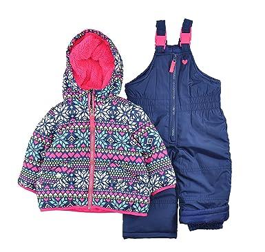 ae0112611cf Amazon.com: Carter's Girls' Infant 2 Pc Heavyweight Printed Snowsuit ...