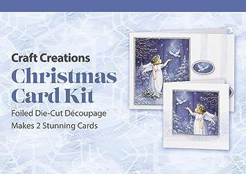 Craft Creations Decoupage 3D Brillants Kit Carte De Noel Motif Ange Et Colombe PKDCG005 Avec Reflets