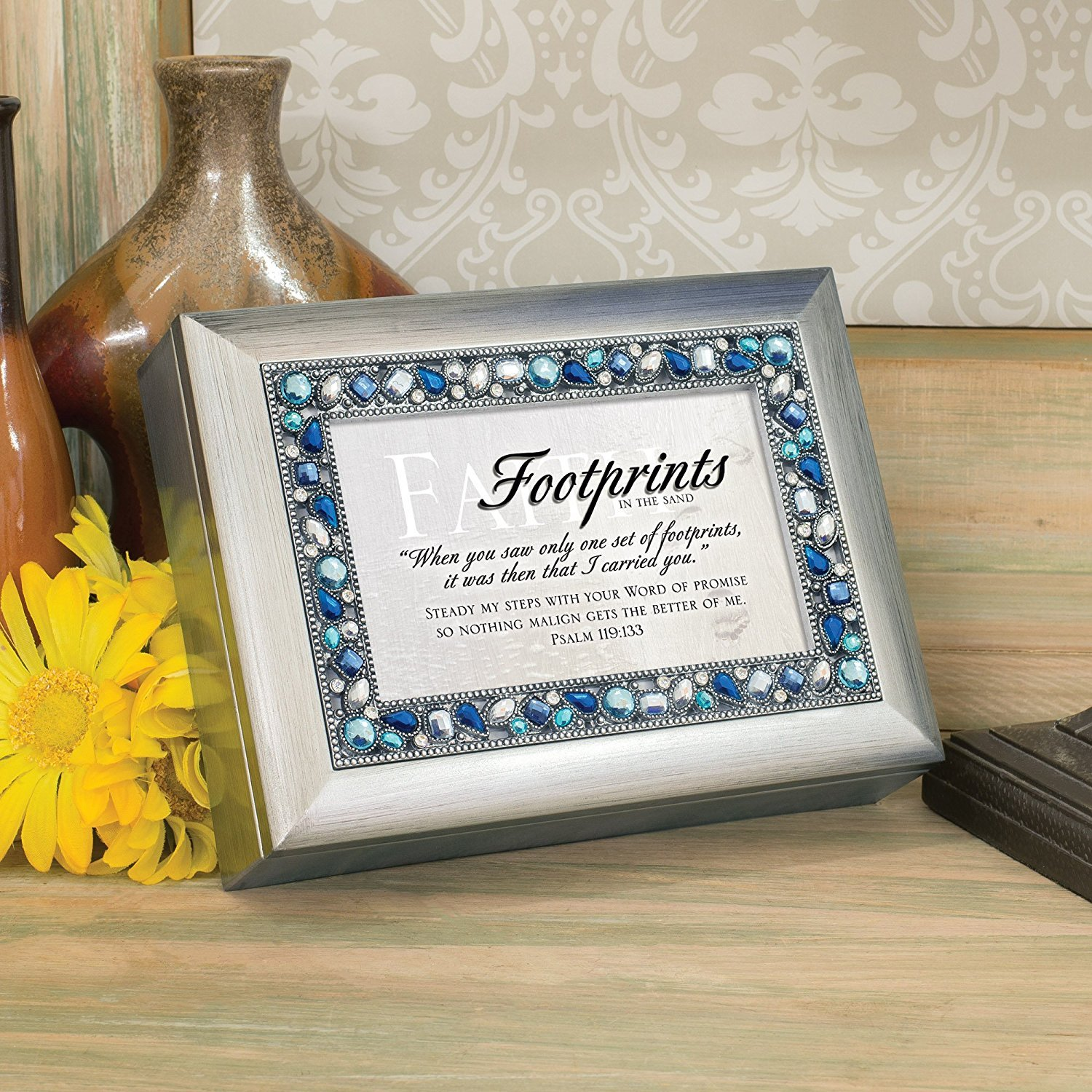 Footprints Brushed Silver Finish Jeweled Lid Jewelry Music Box Plays Tune How Great Thou Art Cottage Garden