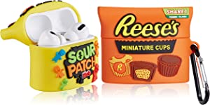 Funnysoul Case for AirPod Pro/3, AirPods Pro Cover for Kids Teens, Ree's Cholocate + Candy Kids Cute Trendy Cartoon Funny Design Food Pattern, Full Protective Shockproof for AirPods 3 Cases 2 Packs