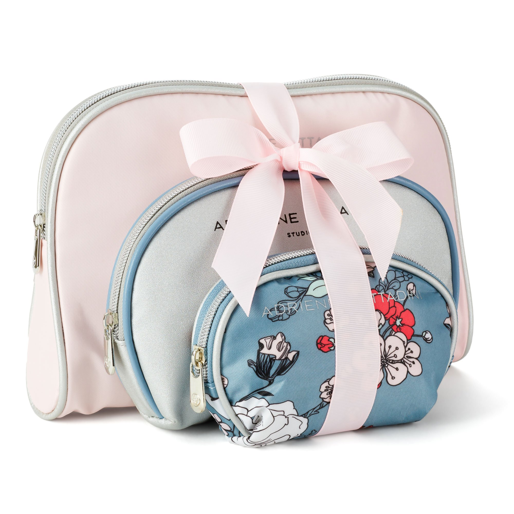 Adrienne Vittadini Cosmetic Makeup Bags: Compact Travel Toiletry Bag Set in Small, Medium and Large for Women and Girls - Pale Pink & Blue Floral