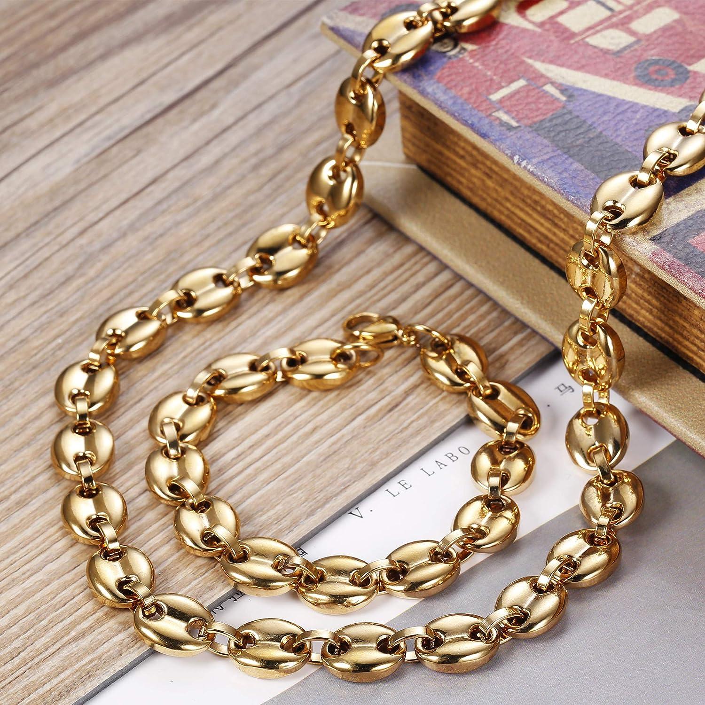 BESTEEL 11MM en Acier Inoxydable Ensemble Collier et Bracelet pour Homme Grain De Caf/é Collier Biker Punk Collier 56-61cm Bracelet 21.5cm