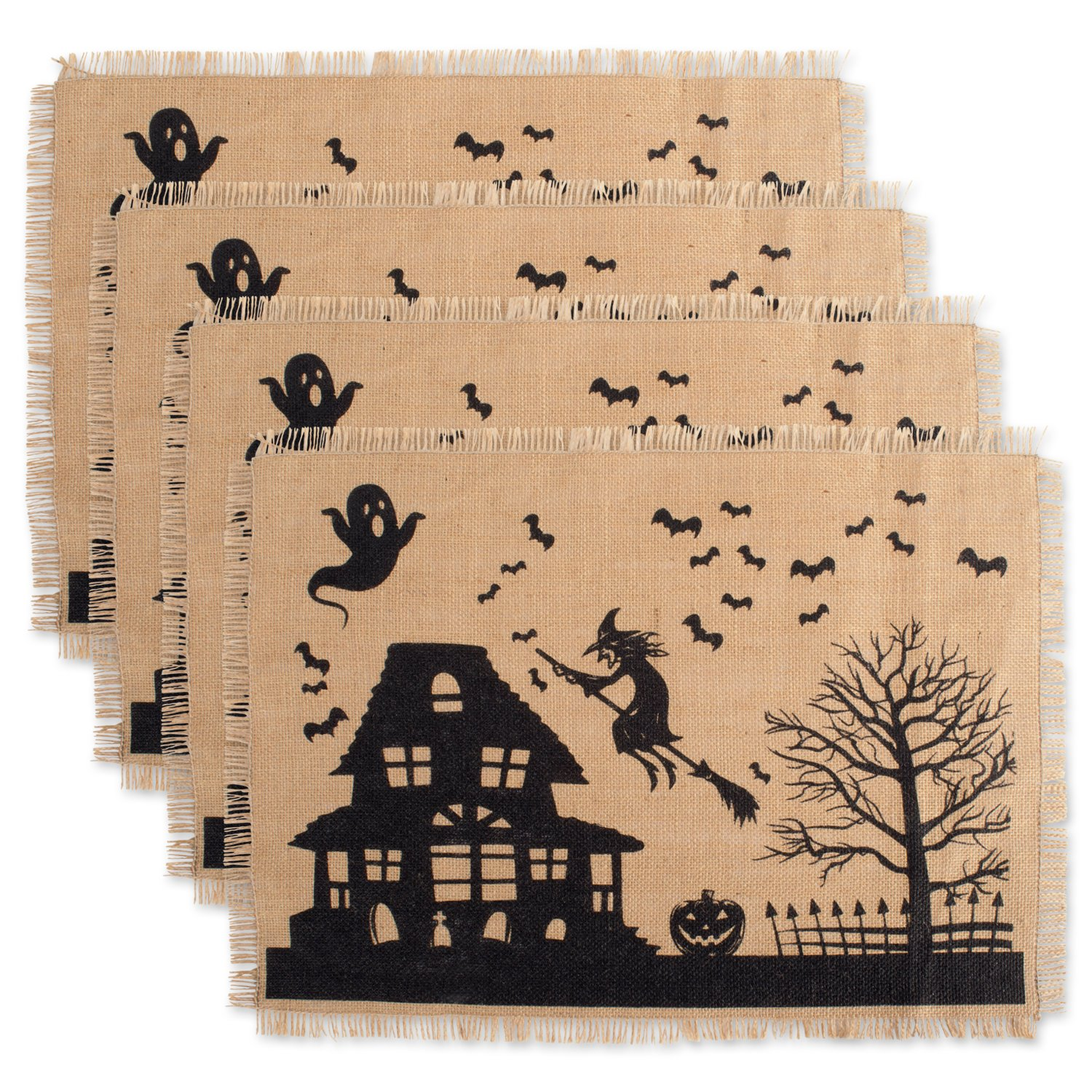 DII 100% Burlap Rustic Vintage Printed Placemat for Parties & Halloween, Set of 4, Hunted House CAMZ37628