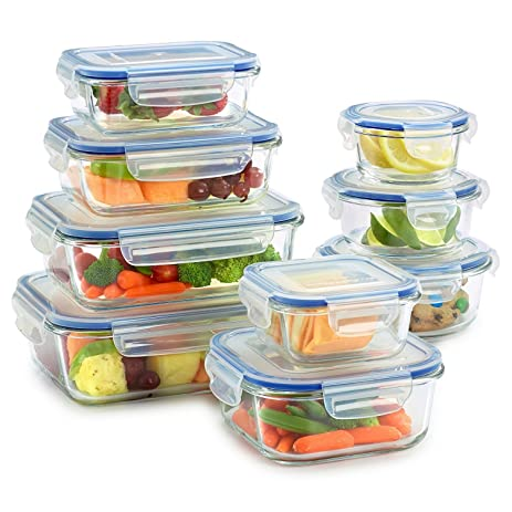 Exceptionnel 18 Piece Glass Food Storage Container Set With Locking Lids For Food Storage  100%