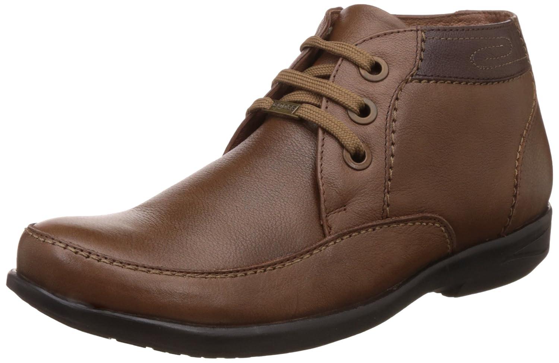 egoss Men's Tan Leather Boat Shoes - 6 UK/India (40...