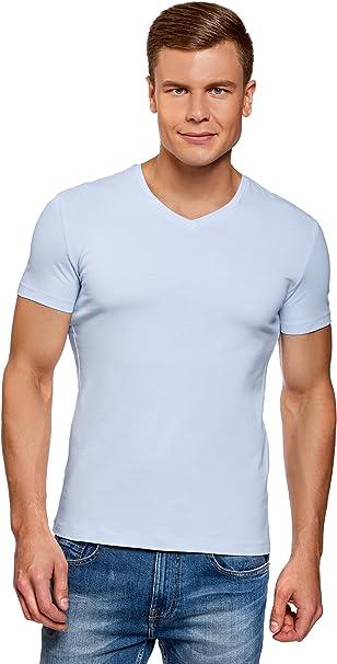 oodji Ultra Hombre Camiseta de Algod/ón con Estampado sin Etiqueta