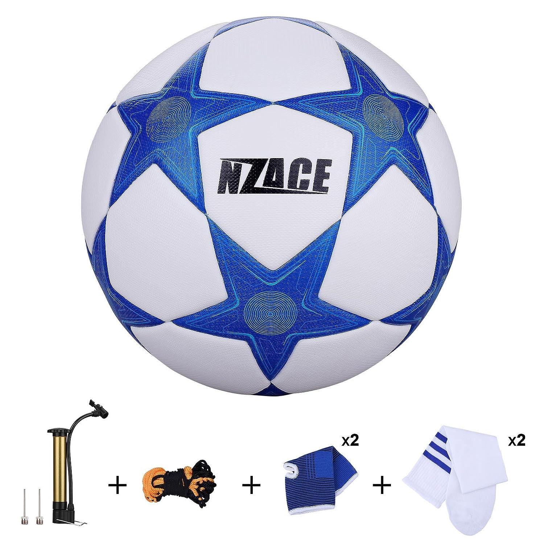 Soccer Balles de sports de plein air Practise Pro Ballon de foot Taille 5 Performance de niveau supé rieure Pompe incluse et filet de transport bleu NZACE