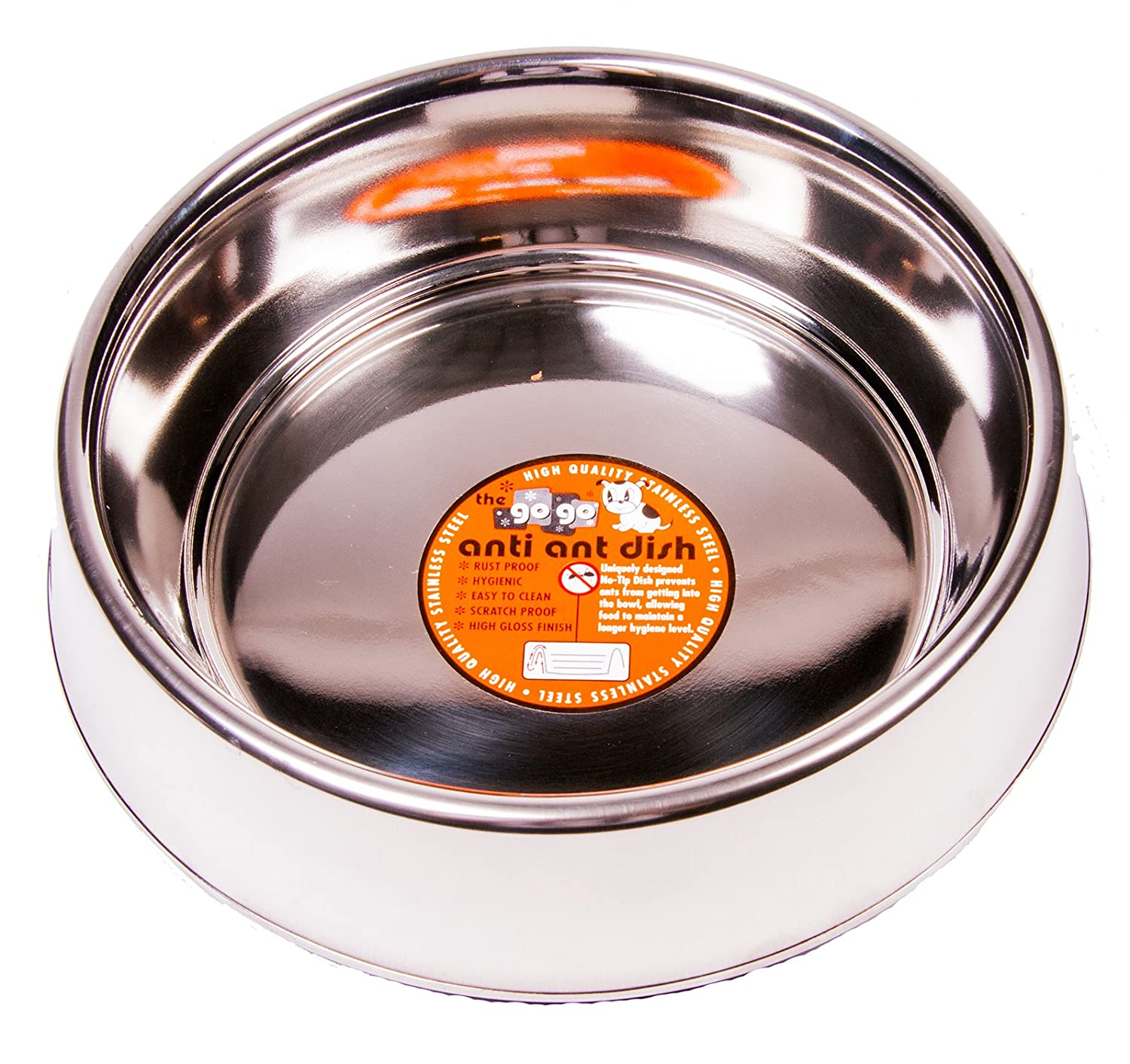 GoGo Pet Products Stainless Steel Anti-Ant Pet Dog Bowl, 64-Ounce