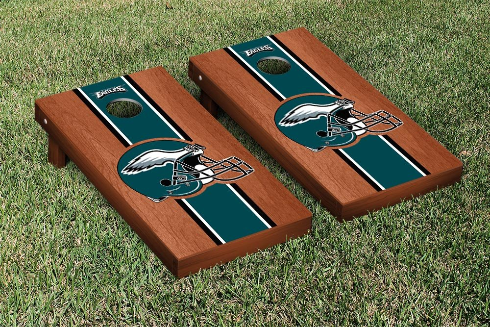 NFL Philadelphia Eagles Rosewood Stained Stripe Version Football Cornhole Game Set, 24'' x 48'', Multicolor by Victory Tailgate (Image #1)