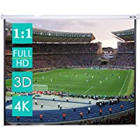 CCLIFE Beamer leinwand Format 1:1 Rollo für Heimkino Business Fußballstadion als Full-HD und 3D-Leinwand 203x203/ 178x178/ 152x152cm, Größe:152 x 152 cm