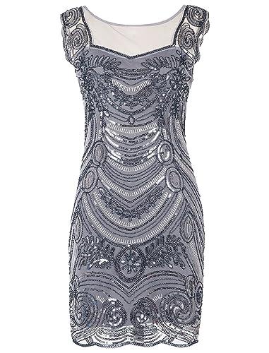 Emust Women's 1920s Sequin Embellished Charleston Downton Gatsby Flapper Dress