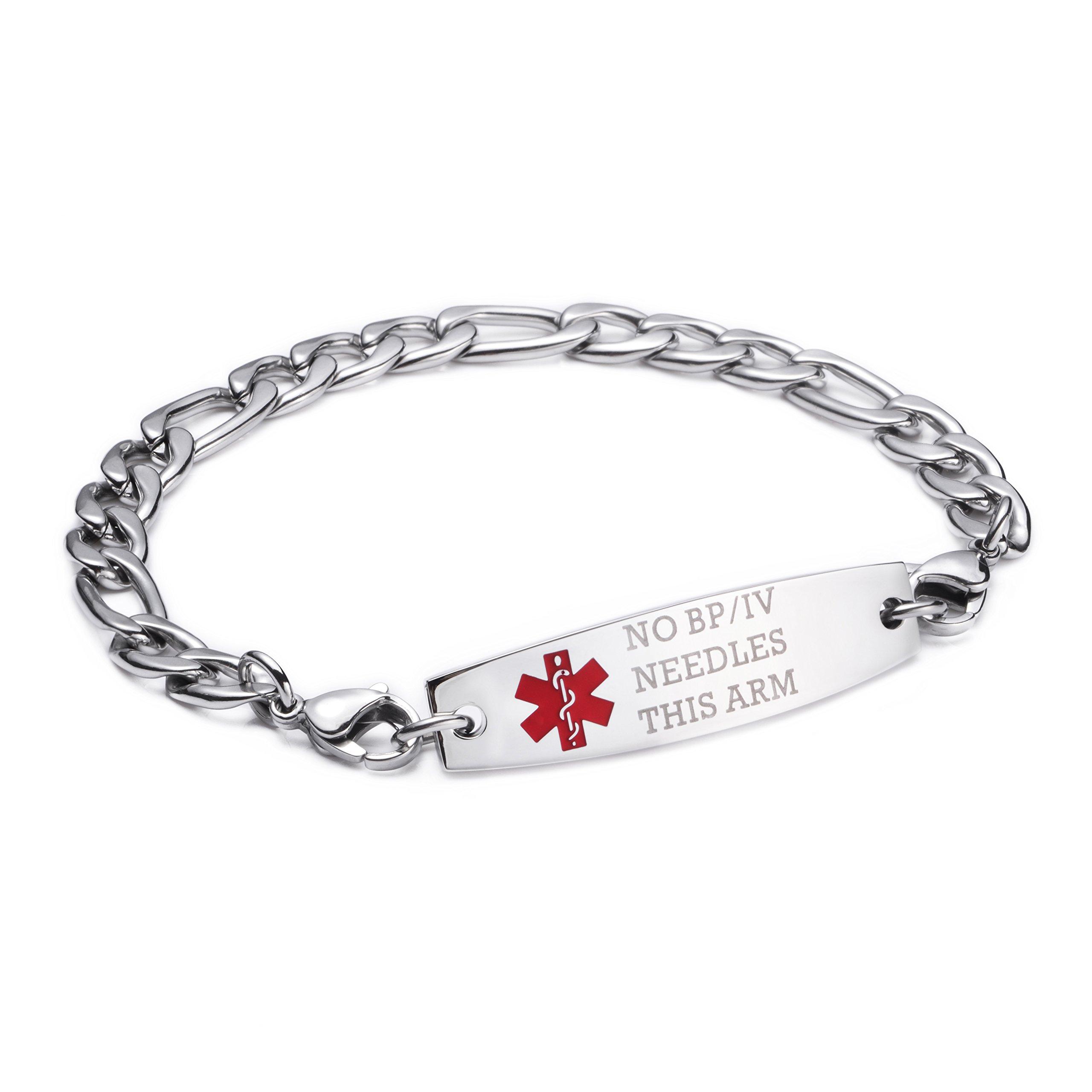 LinnaLove Stainless steel Figaro Chain lnterchangeable medical alert bracelets-Pre-engraving(NO BP/IV/NEEDLES THIS ARM/7.5'')