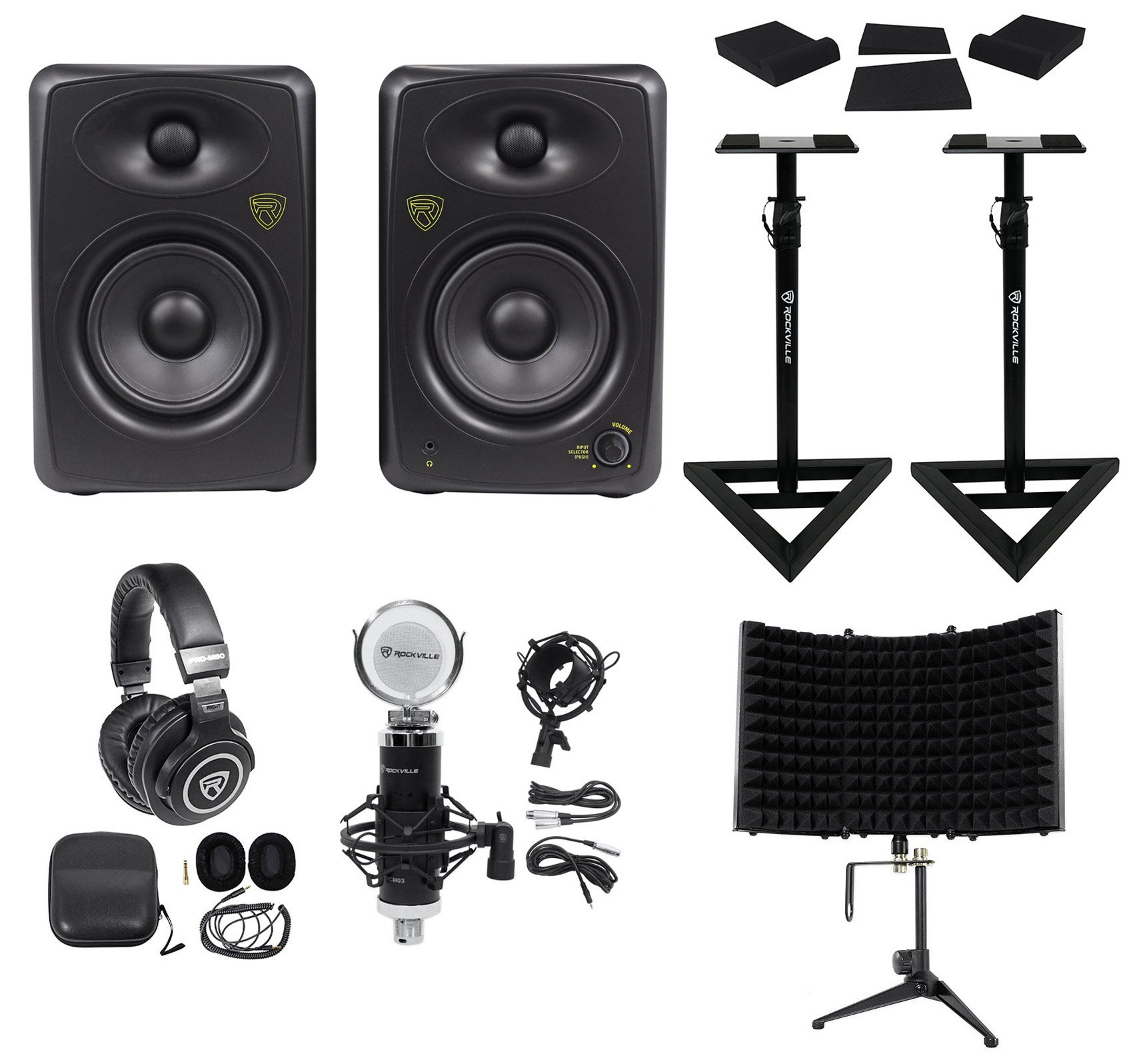 (2) Rockville ASM5 5'' 200W Studio Monitors+Stands+Pads+Headphones+Mic+Shield