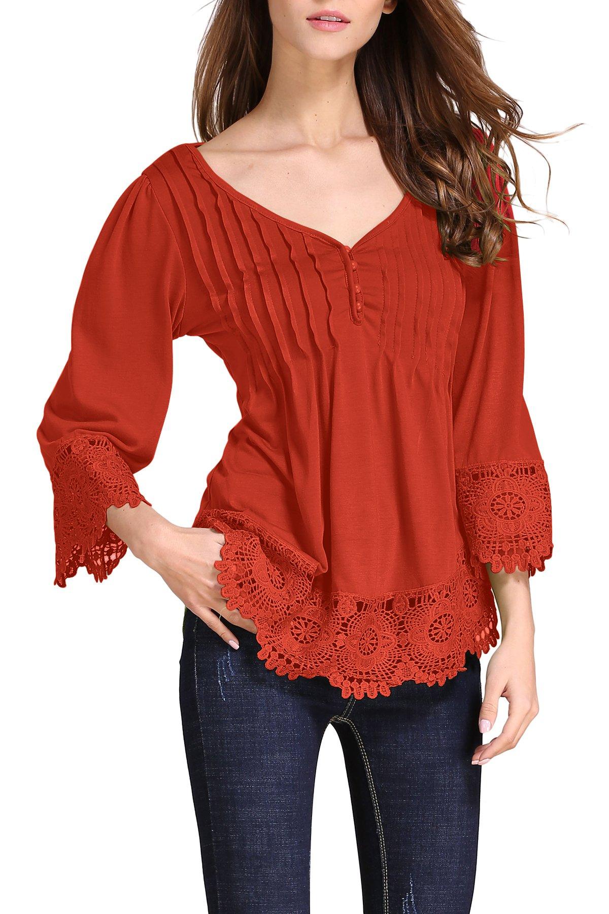 OMZIN Women's Cotton Long Sleeve Lightweight Tunic Tops Water Red 3XL